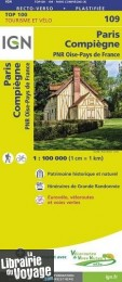 I.G.N Carte au 1-100.000ème - TOP 100 - n°109 - Paris - Compiègne