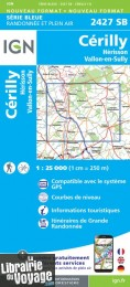 I.G.N Carte au 1-25.000ème - Série bleue - 2427 SB - Cérilly - Hérisson - Vallon en Sully