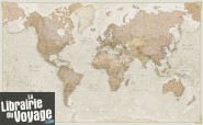 Maps international - Carte du monde politique style antique - Plastifiée avec barres - Au 1/30mio (en anglais)