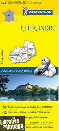 "Michelin - Carte ""Départements"" N°323 Cher - Indre"