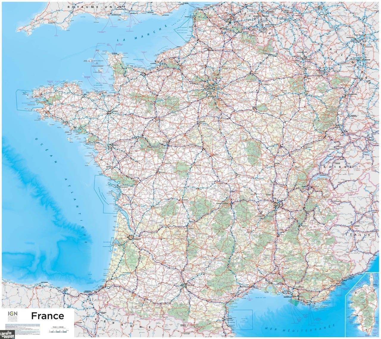 carte de france ign I.G.N   Carte murale plastifiée 901   France routière