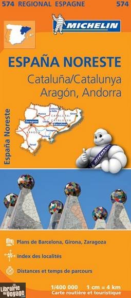 Carte Espagne Catalogne.Michelin Carte Regionale N 574 Cataluna Aragon Andorra
